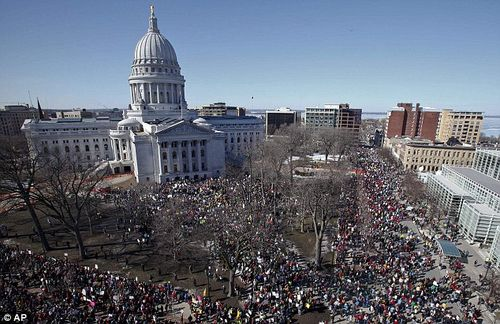Madison sea of protest